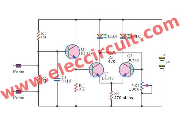 lie detector circuit  eleccircuit, circuit diagram