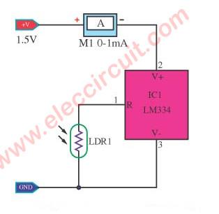 Simple Light meter circuit using LM334