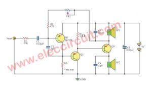 Mono amplifier two speaker outputs using transistors