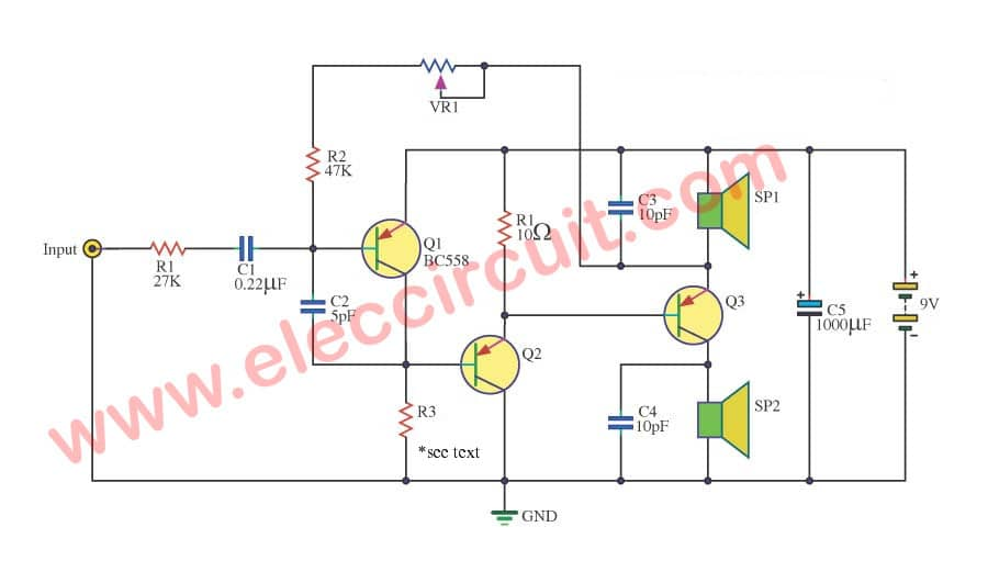 mono amplifier two speaker eleccircuit com rh eleccircuit com