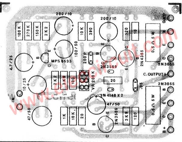 PCB layout of Power Amplifier OTL 50W using 2N3055