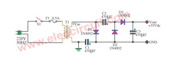 Simple AC to DC converter 9VAC to 35VDC