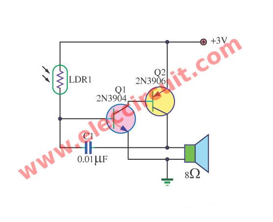 Simple light sensitivity Metronome using 2N3904