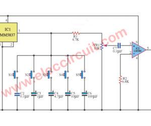 Six sound effect generator circuit using MM5837