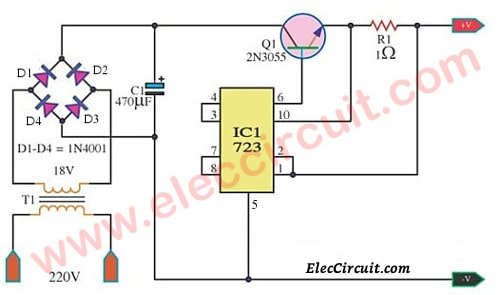 Stabised Current Battery Charger By Lm723 Electronic