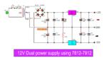 12V dual power supply 1A circuit