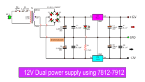 12V dual power supply 1A circuit