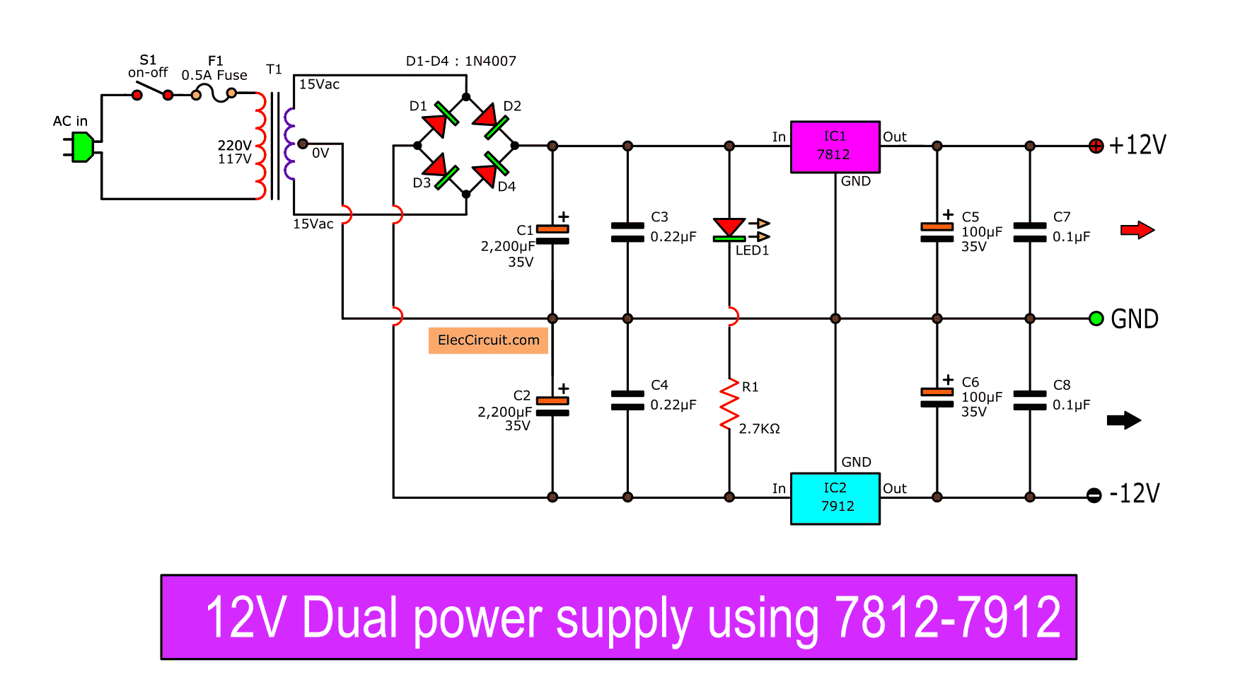 12V Dual Power Supply using 7812, 7912