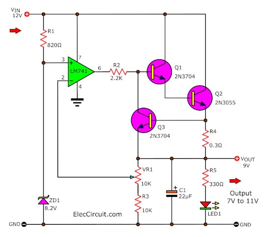 2 step down 12v to 9v converter circuits eleccircuit com12v to 9v 2a step down dc converter using ic 741 and 2n3055 · \u0027