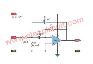 1kHz bandpass filter circuit using LM324