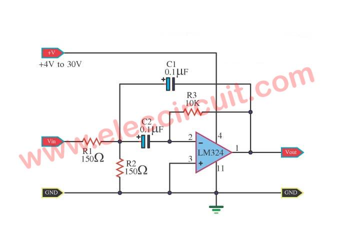 1kHz bandpass filter circuit using LM324