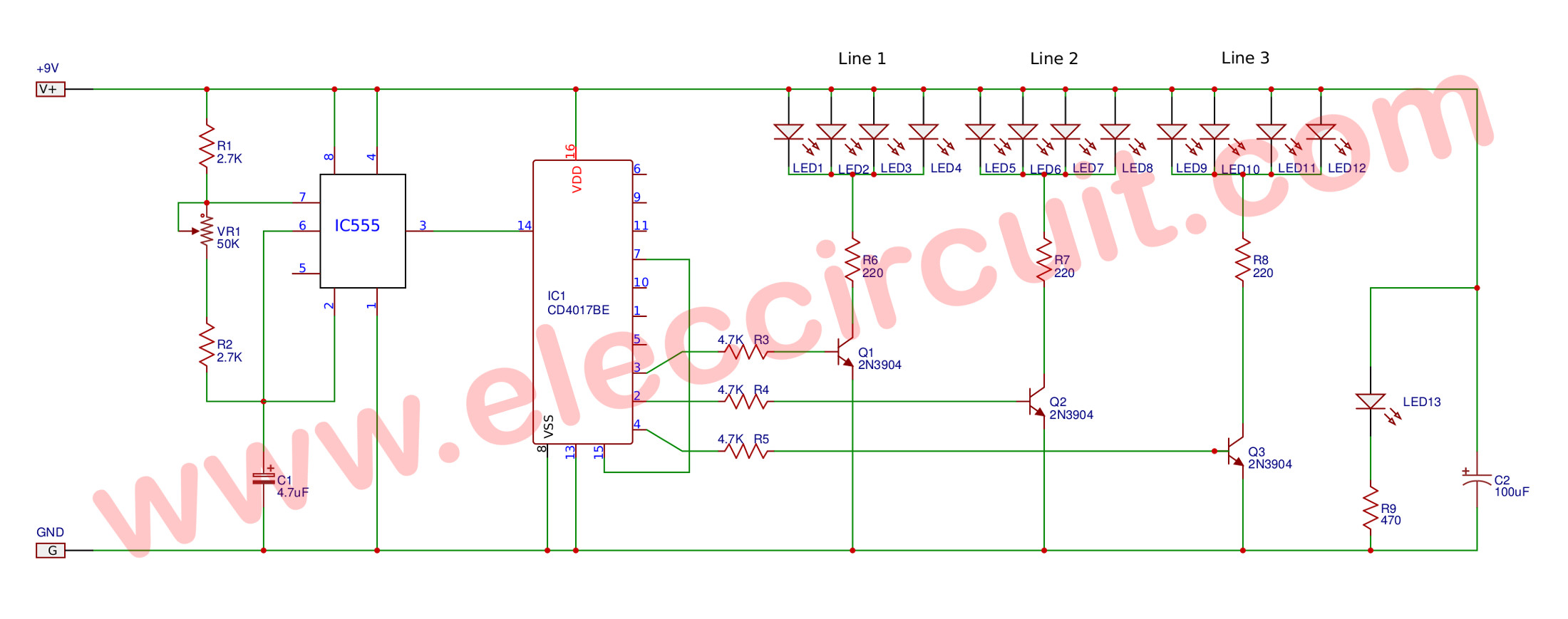 Led Chaser Using And Timer chemistry flow charts