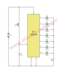 7 Stage Binary Counter Display with LED using CD4024-IC