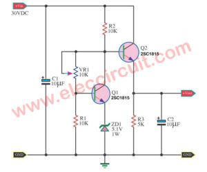 Simple constant voltage circuit using small transistors