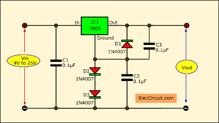 Increasing output voltage 78xx using diode