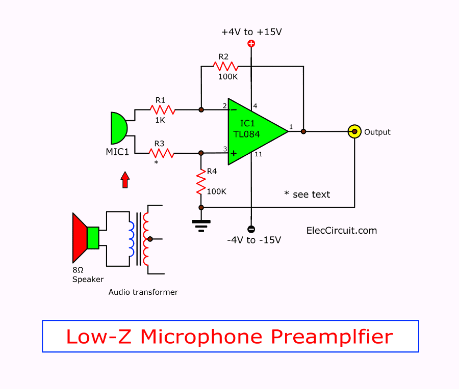 pre microphone low impedance using tl084 electronic projects circuits
