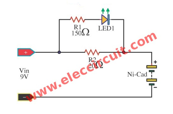 simple nicad battery charger circuit by little part  eleccircuit, wiring diagram
