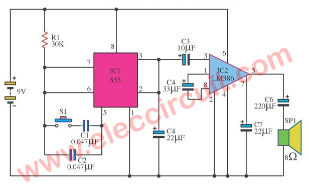Noise Generator 2 Frequency using IC 555