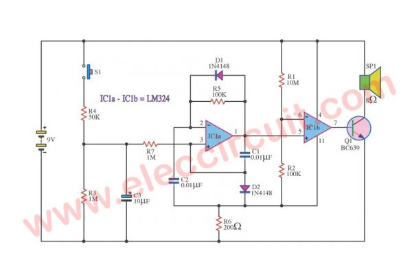 Police Bicycle Siren circuit using LM324 OP-AMP