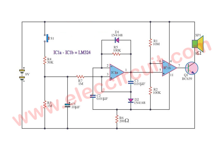 Police Bicycle Siren Circuit Using Lm324 Op Amp