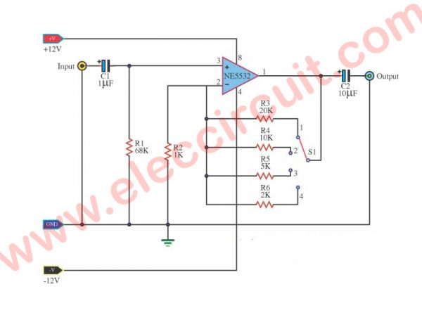 Preamplifier using IC