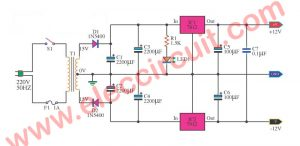 +12V,-12V Regulator Power supply using LM7812,LM7912