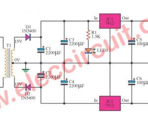 12V Dual Power Supply using 7812, 7912