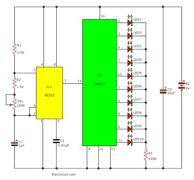 LED Chaser circuit using 555 and 4017