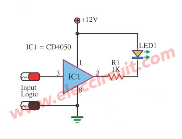 Simple Logic Probe using IC-4050