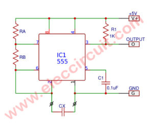 Simple capacitance measurement circuit using IC-555