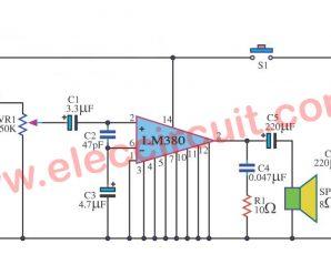 Simple megaphone circuit using LM380