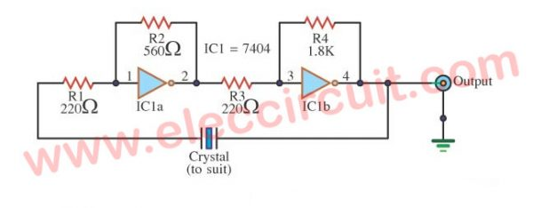 Simple TTL Crystal Oscillator circuit