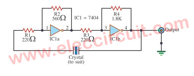 Crystal Oscillator Using Ttl Eleccircuit Com