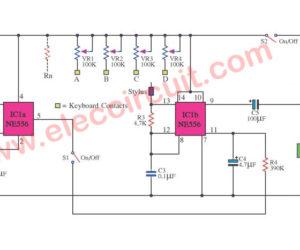 Small electric organ circuit using NE556