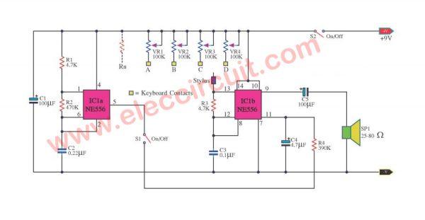 Small electric organ circuits using NE556