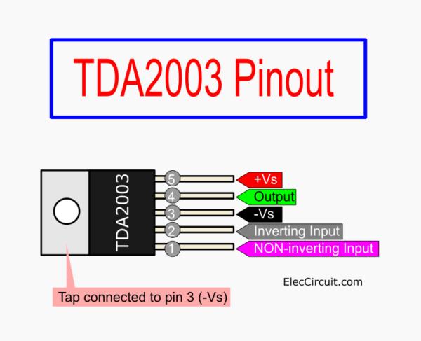 TDA2003 pinout