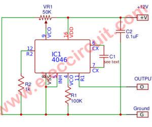 Phase locked oscillator circuit,100Hz-10KHz square wave