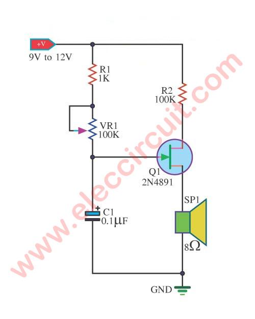 tone generator circuit using 2n4891 eleccircuit com rh eleccircuit com vox continental tone generator schematic tone generator circuit 555