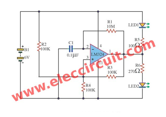 Op-amp LED flasher circuit – oscillator circuit using LM324