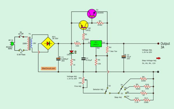 LM317 2N3055 Variable power supply circuit