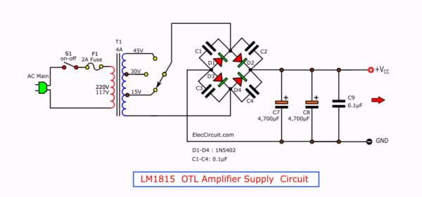 LM1875 Amplifier Power Supply Circuit