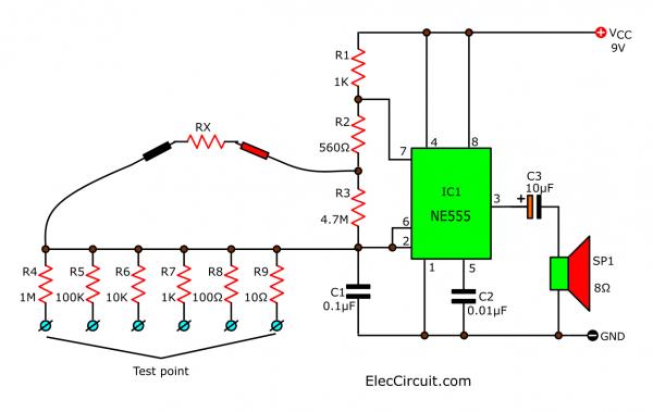 IC555 audio ohmmeter circuit