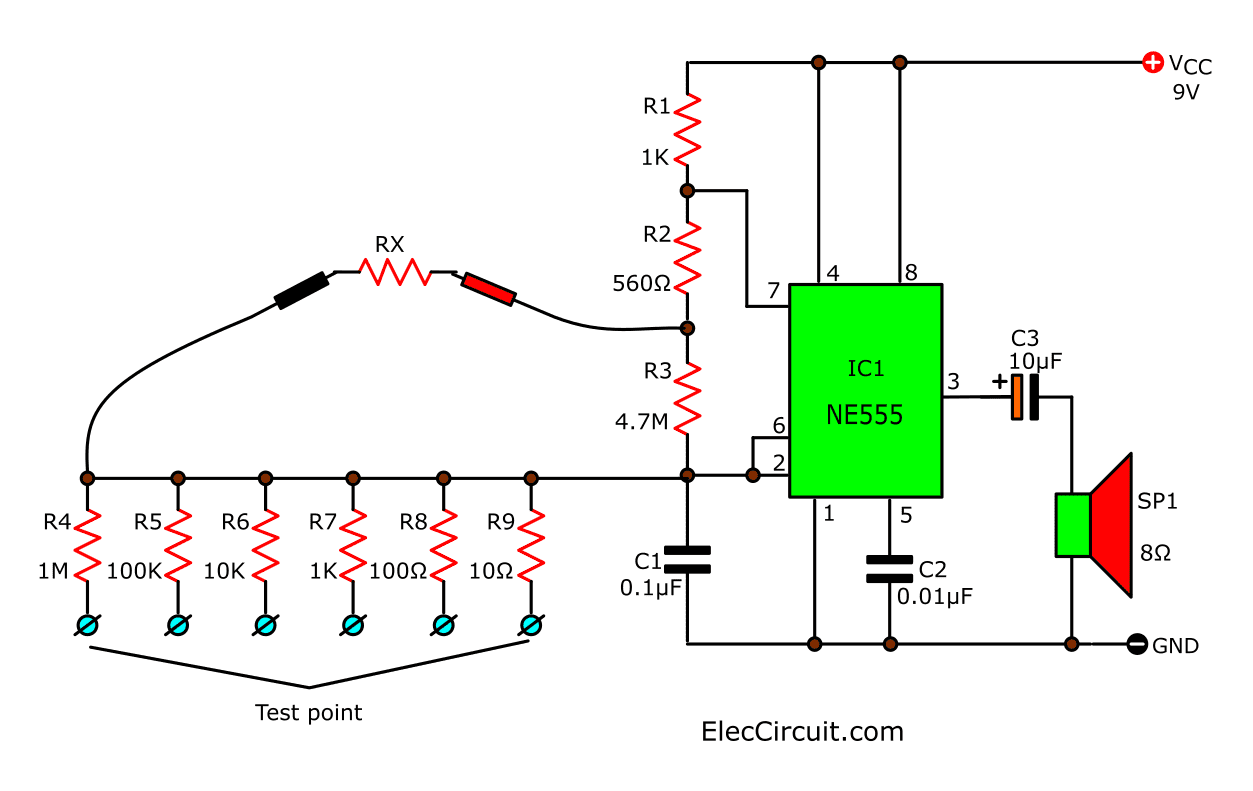 IC555 audio ohmmeter circuit
