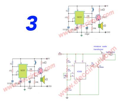 555 timer audio alarm circuits
