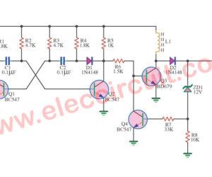 Simple 6V to 12V boost converter circuit using BD679 transistors
