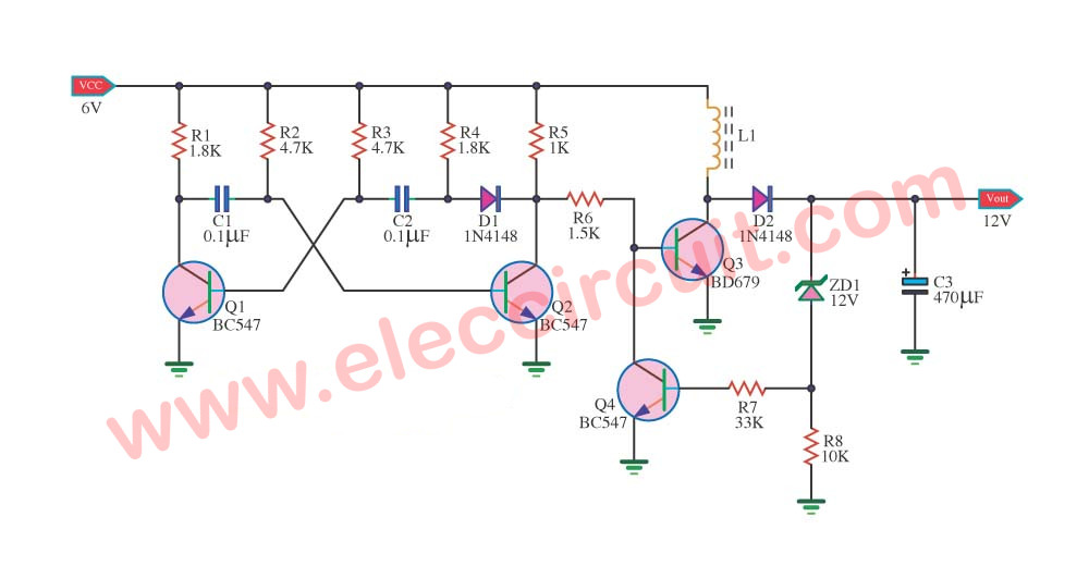 Simple 6V to 12V boost converter circuit using BD679 transistors