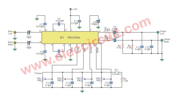 Stereo tone control circuit using IC TDA1524A