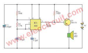 5 circuits of 555 Alarm sound and tone generator