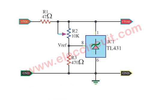 Adjustable Regulator circuit using TL431