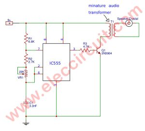 Annoying high pitch noise generator using IC-555